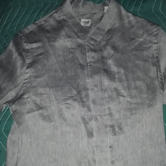 Armani Collezioni Other - ARMANI COLLECZI0N  L silver dress shirt with snaps